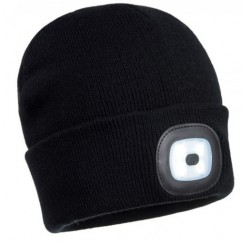 Flashlight Beanie Hat With Rechargeable Battery (Black or Yellow)